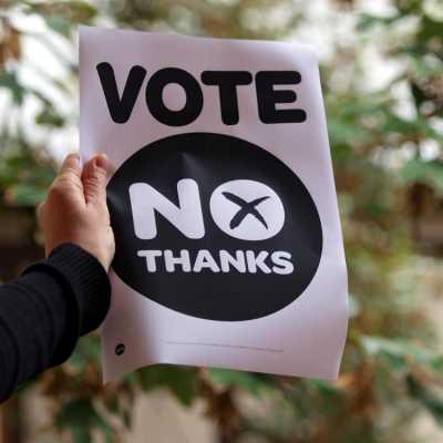 Bild: No thanks-Poster zum Referendum in Schottland, über dts Nachrichtenagentur